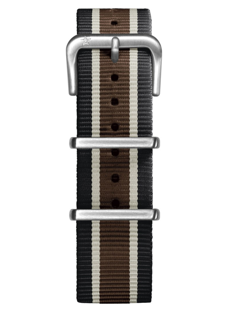 Nato Nylon Noir / Ivoire / Marron 20 mm