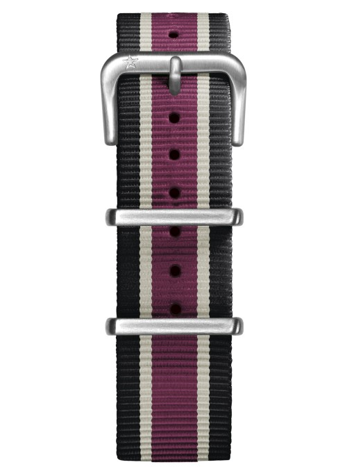 Nato Nylon Black / Ivory /  Plum 20 mm