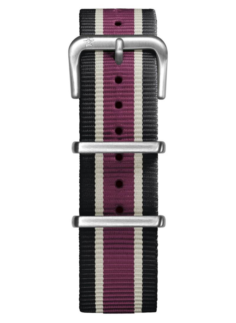 Nato Nylon Black / Ivory /  Plum 20 mm
