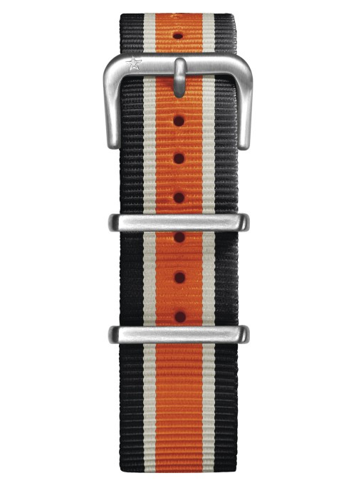 Nato Nylon Black / Ivory / Orange 20 mm