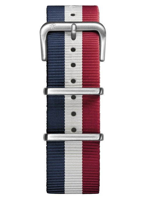 Nato Nylon Marine / Blanc / Rouge 22 mm