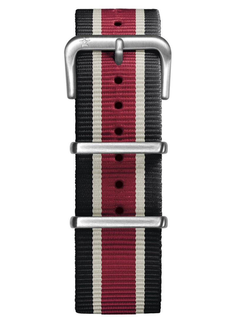 Nato Nylon Black / Ivory / Red 22 mm