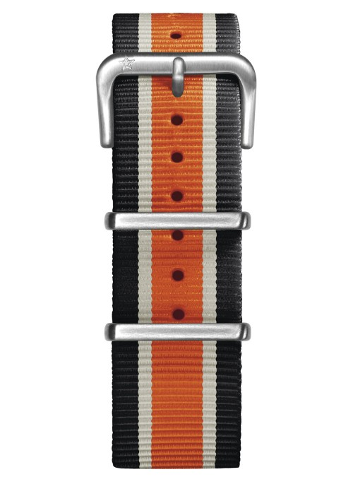 Nato Nylon Noir / Ivoire / Orange 22 mm