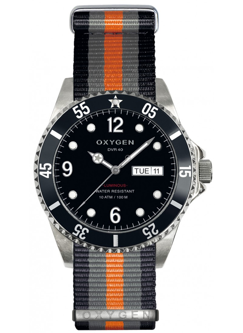 Diver 40 Moby Dick Black Grey Orange Strap
