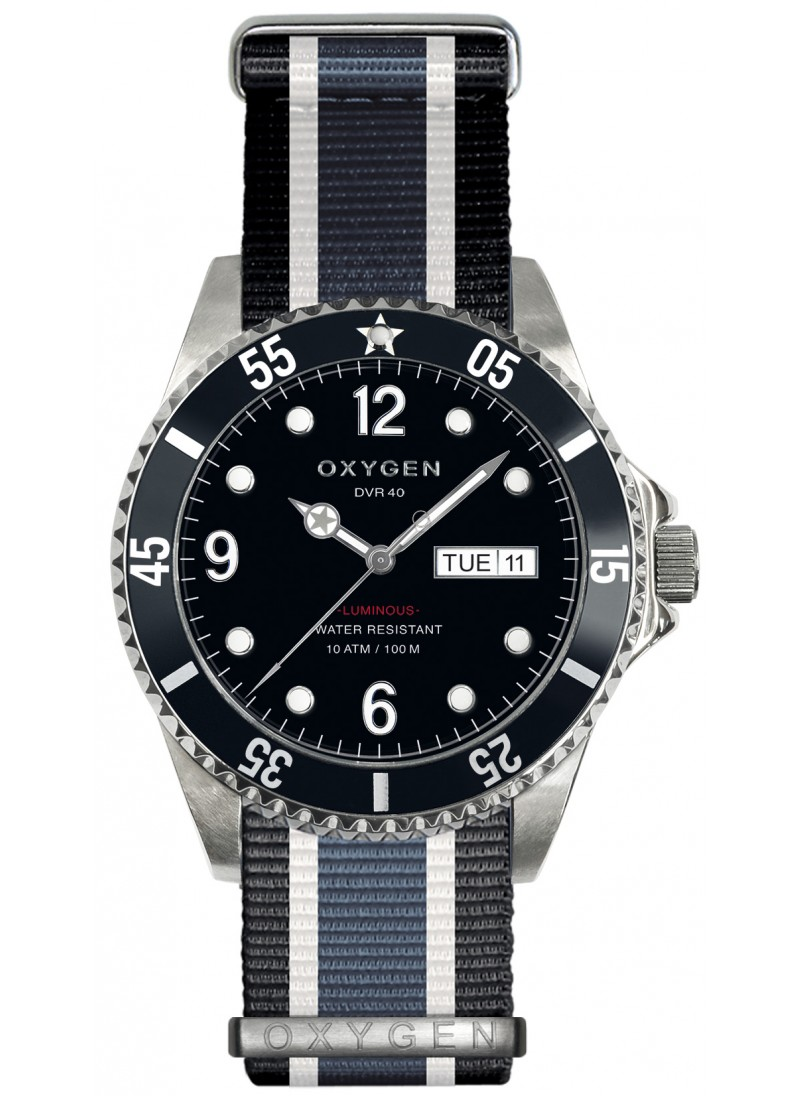Diver 40 moby dick black ivory jean strap - 40mm dive watch ...
