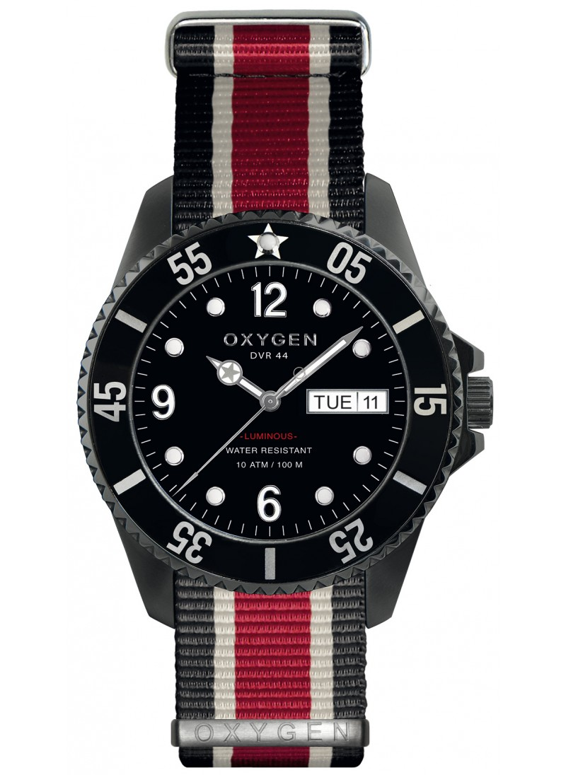Diver 44 Moby Dick Black Ivory Red Strap