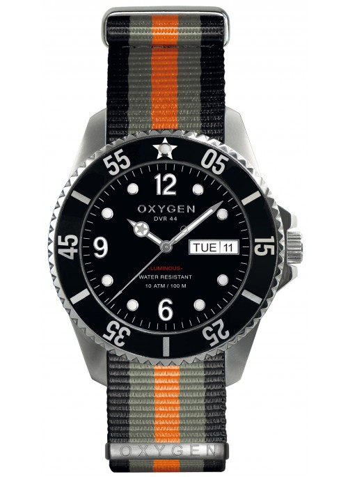 Diver 44 Moby Dick Black Grey Orange Strap