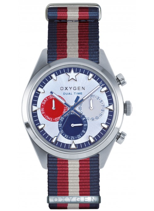 Dual Time 40 long island Navy Red Ivory Strap