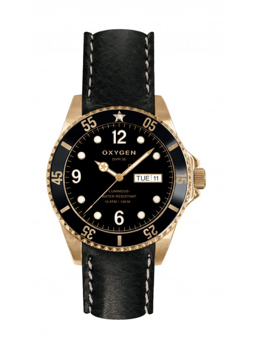 Diver 36 Gold Mine Black Leather Strap