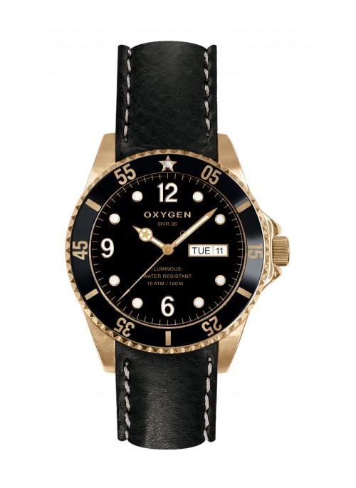 Diver 36 Gold Mine Bracelet Cuir Noir
