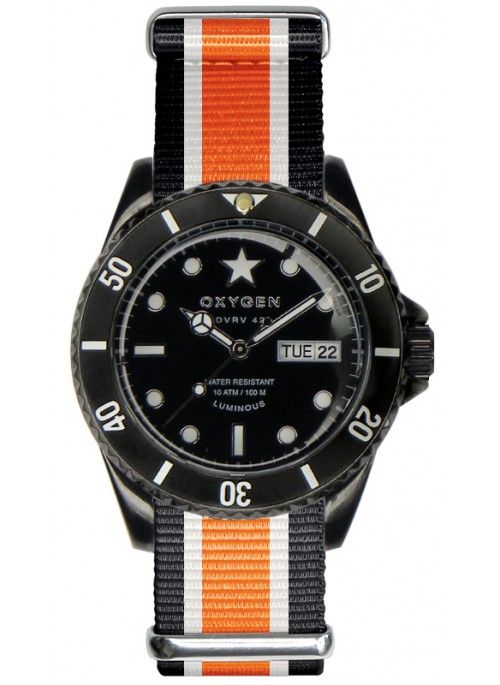 Diver Vintage 42 Black Cat Black Ivory Orange Strap