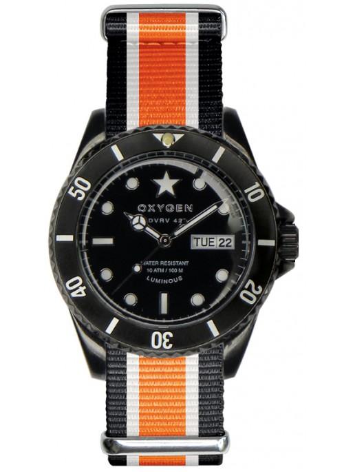 Diver Vintage 42 Black Cat Black Ivory Orange Strap