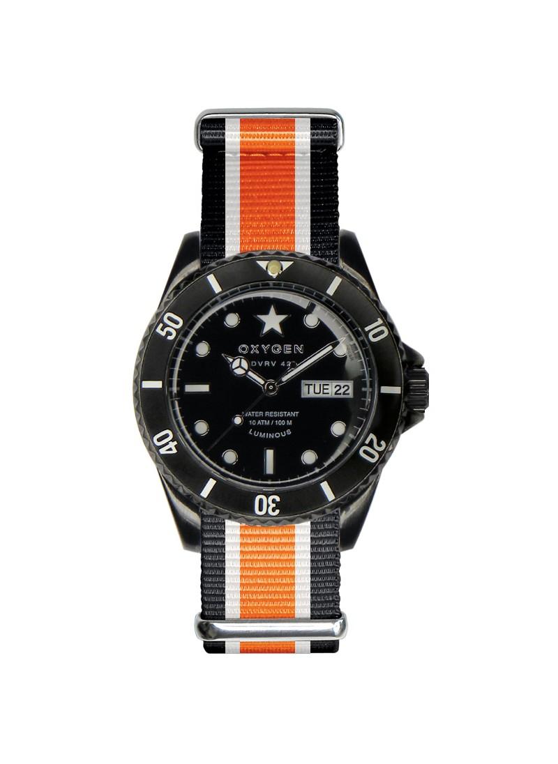 Diver Vintage 42 Black Cat Bracelet Noir Ivoire Orange