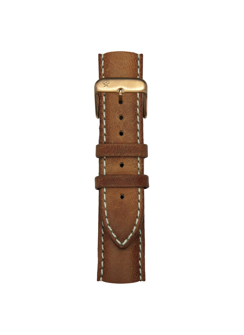 Classic Leather Brown Light Pink Gold Buckle 20 mm