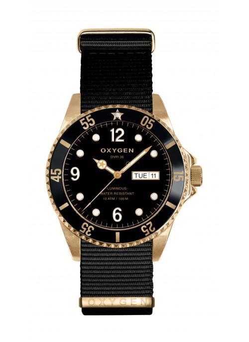 Diver 36 Gold Mine Black Nylon Strap