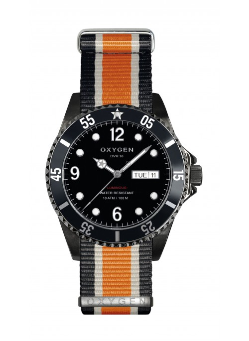 Diver 36 Moby Dick Black Ivory Orange Strap