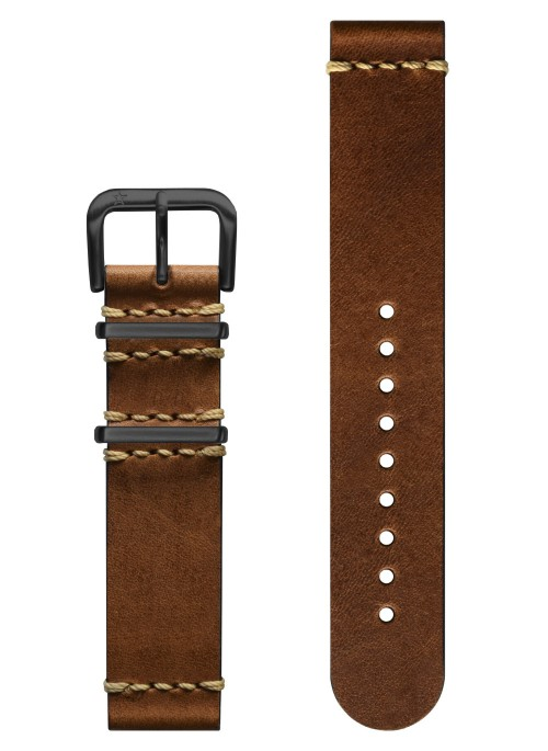 Vintage Leather Light Brown - Black Buckle 20 mm