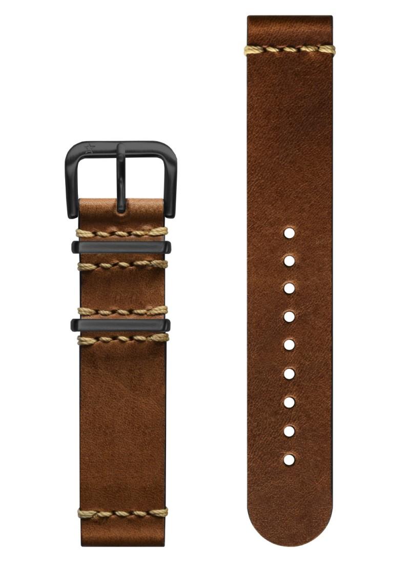 Vintage Leather Light Brown - Black Buckle 20 mm