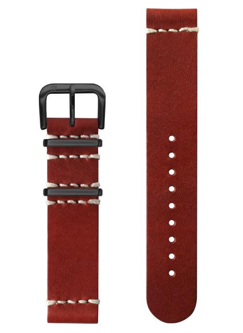 Vintage Cuir Rouge Boucle Noire 20 mm