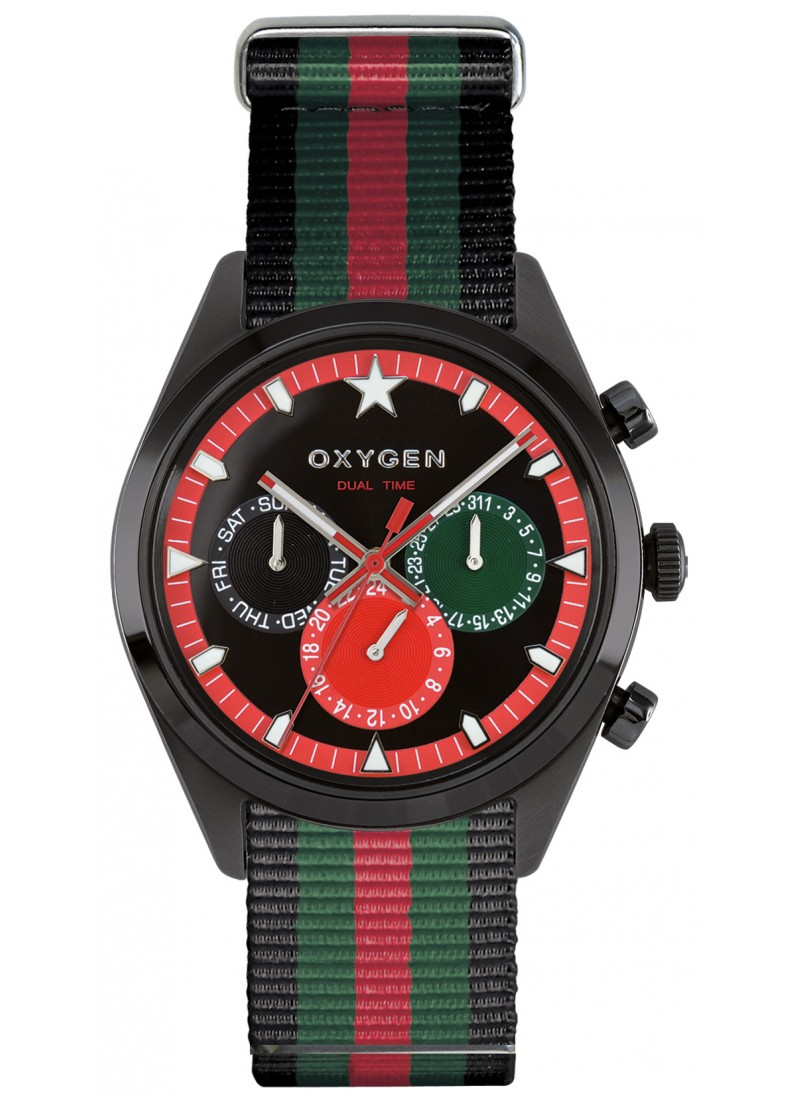 Dual Time 40 Roma Black Green Red Strap